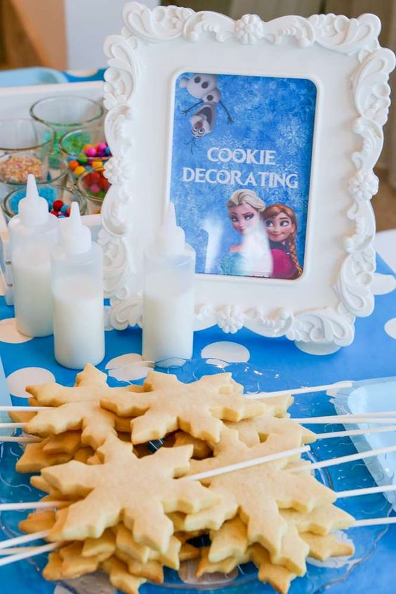 cookie making station at a Frozen birthday party