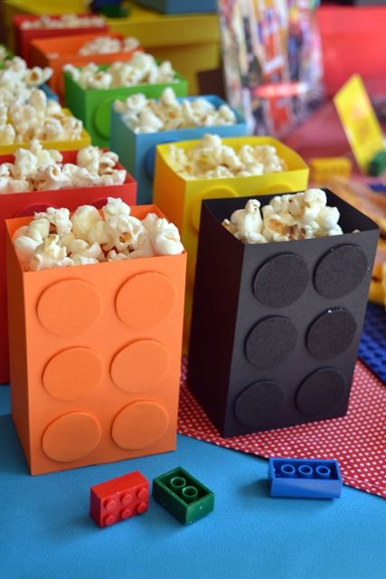 lego popcorn boxes as treats or favors
