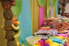15 luau food table decorated in bold colors