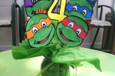 15 teenage mutant ninja turtles centerpiece made of paper
