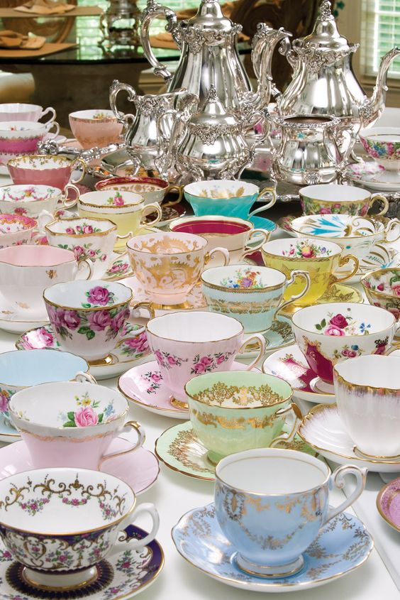 vintage tea cups and silver tea and coffee pots will be your key to success