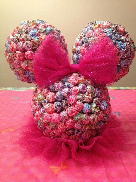 Minnie Mouse lollipop head made using three Styrofoam balls and dowels