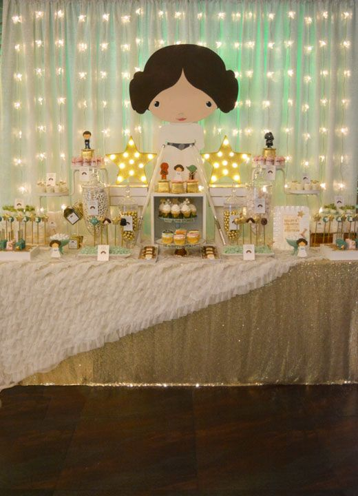 Princess Leia dessert table for a girl's birthday