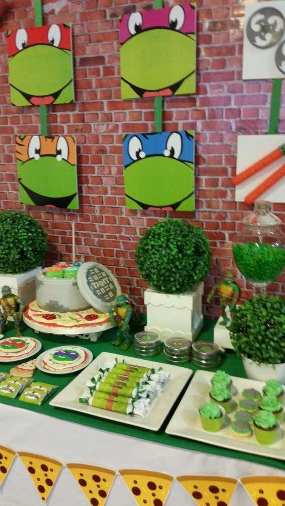 Teenage Mutant Ninja Turtles birthday party dessert table