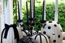 16 black and white decorated pumpkins for fall and Halloween parties