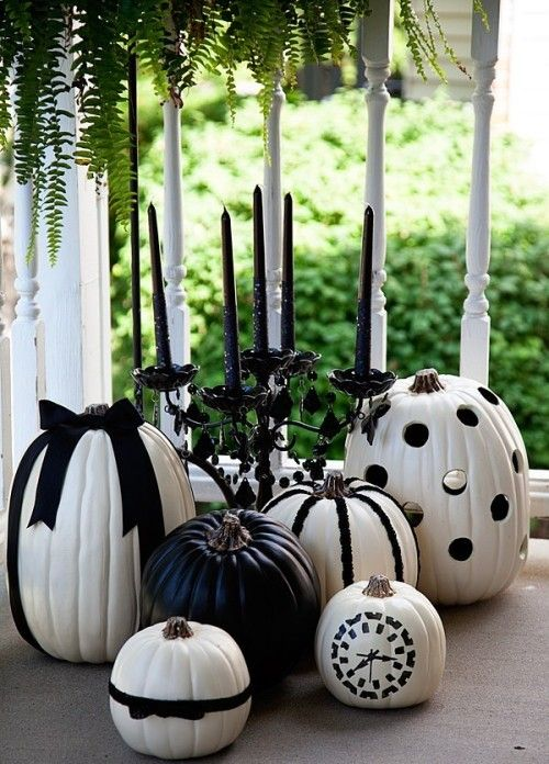black and white decorated pumpkins for fall and Halloween parties