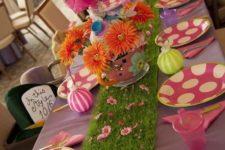16 indoor Alice in Wonderland table setting