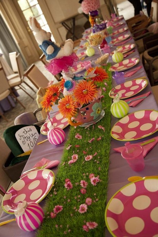 Indoor Alice In Wonderland Table Setting