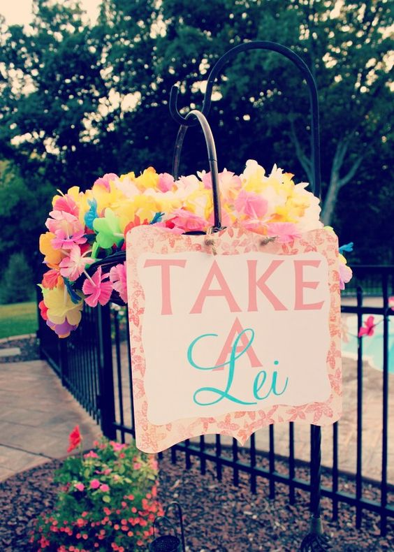 take a Lei basket for each party guest to grab as they walk in