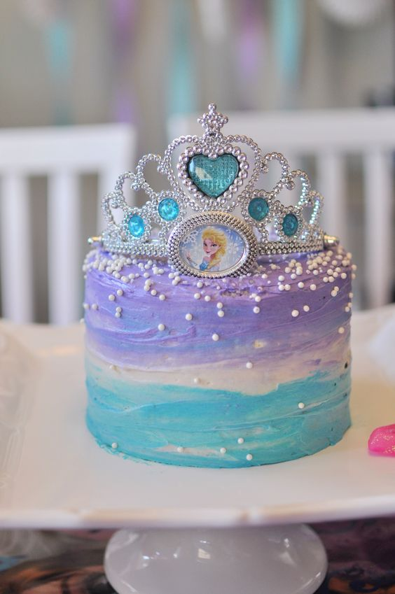 Disney Frozen birthday cake with a tiara