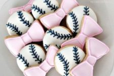 17 baseballs or bows as gender reveal cookies