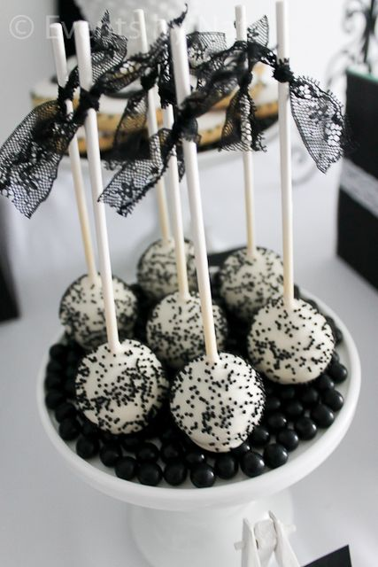 black and white cake pops and candies