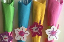 17 take bright colored napkins and wrap your silverware in them, add paper flowers