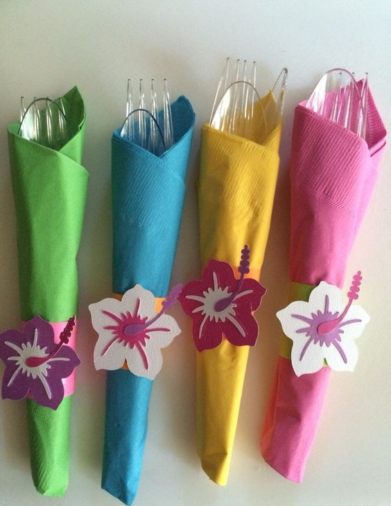 take bright colored napkins and wrap your silverware in them, add paper flowers