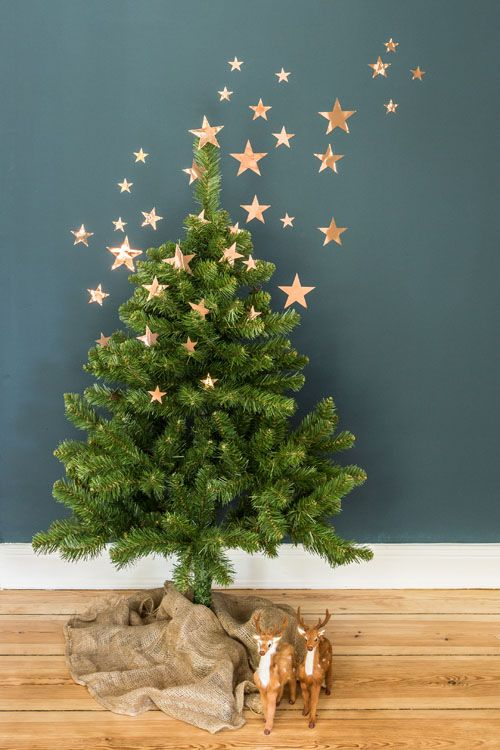 you needn't place all the decor right on the tree, just cover the wall with stars and the tree a bit