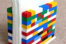 18 Lego napkin holder made by kids