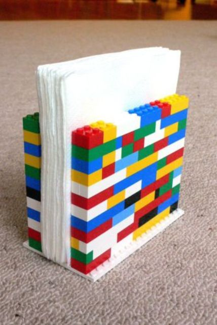 Lego napkin holder made by kids