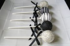 18 black and white cake pops with glitter for dessert tables