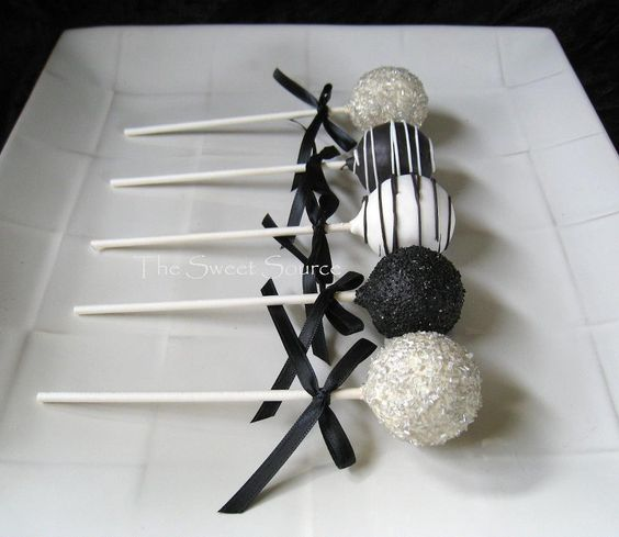 Black And White Cake Pops With Glitter For Dessert Tables