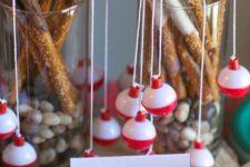 18 edible fishing rod pretzels for a children's party