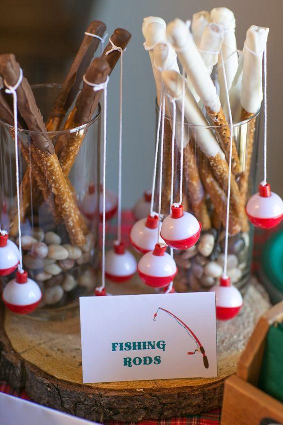 edible fishing rod pretzels for a children's party