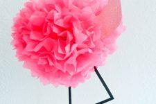 18 tissue pouf flamingo decoration for a luau party