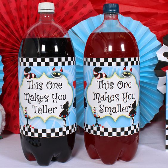Alice in Wonderland bottle labels can be easily printed by everyone