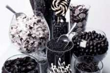 19 black and white candy buffet