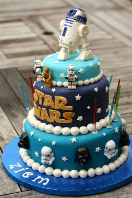 Bold Star Wars Cake With Masks And Topped R2D2