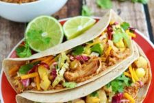 20 crock pot Hawaiian BBQ chicken tacos will be a great treat for your guests