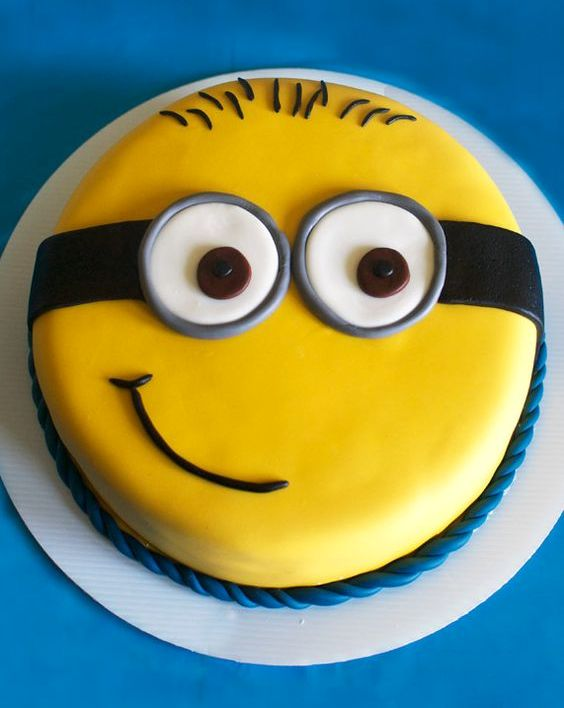 cute one tier minion party cake