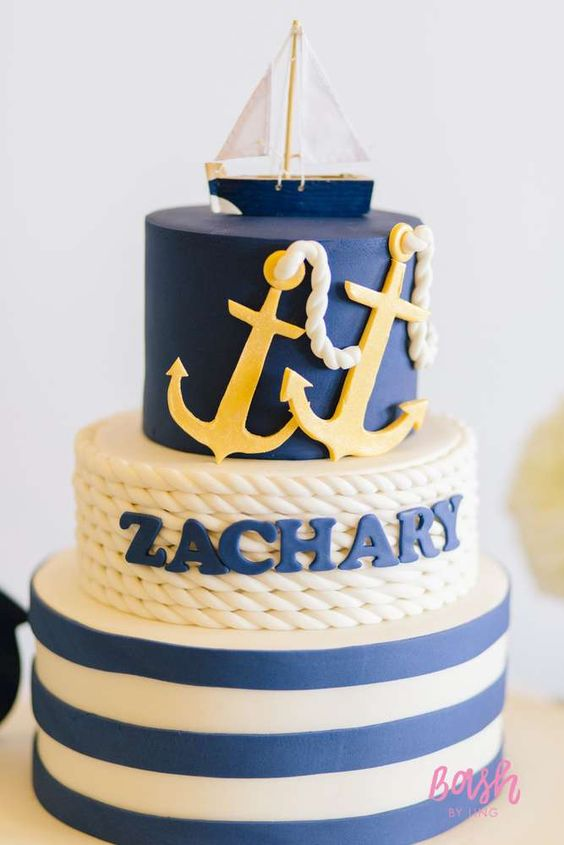 gorgeous nautical cake for a baby shower or birthday