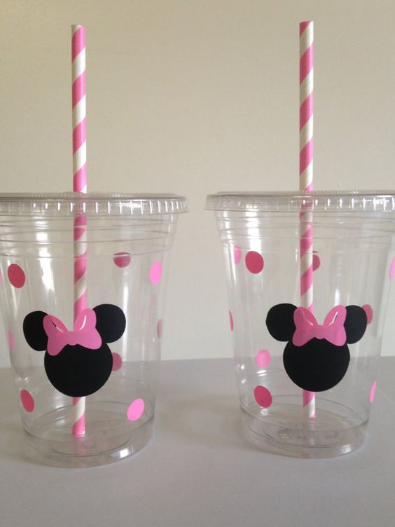 party cups with Minnie heads and pink straws