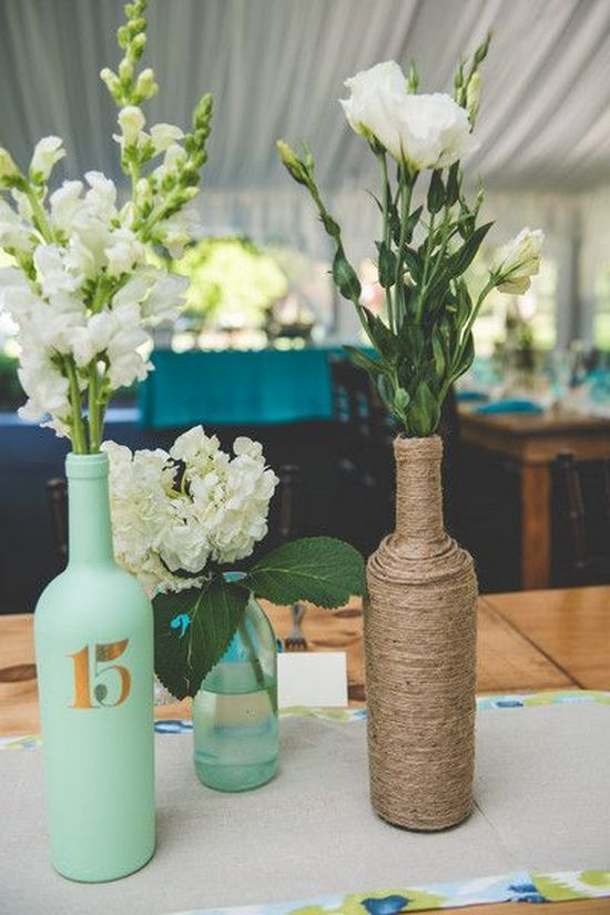 28 wine bottle centerpieces for every occasion shelterness for Wedding table decorations with wine bottles