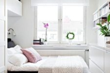 20 sideboard, wall-mounted shelves and built-in storage around the bed