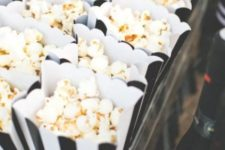 21 black and white paper bags for popcorn for treats and favors