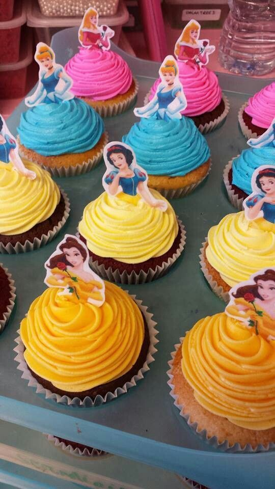 colorful, delightful cupcake ideas featuring Belle, Snow White, Cinderella and more