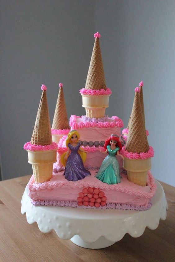 Disney castle cake with two princesses