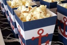 22 nautical popcorn boxes with anchors for favors or to display food