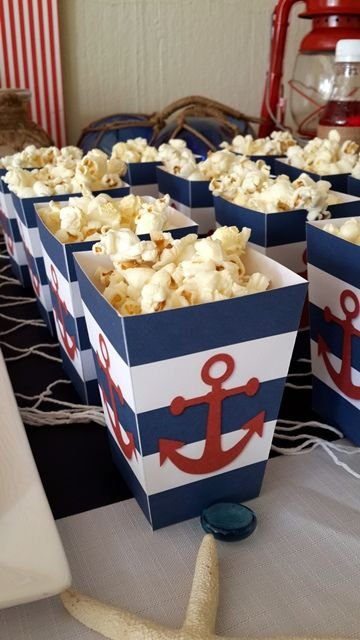 nautical popcorn boxes with anchors for favors or to display food