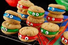 22 ninja turtle cookie sandwiches