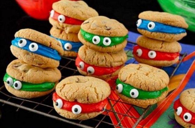 ninja turtle cookie sandwiches