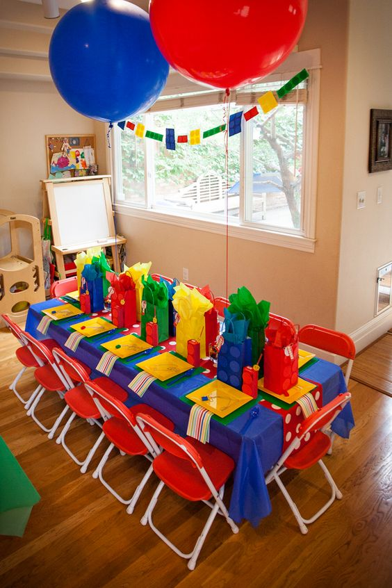 super bold LEGO-themed kids' table that every kid will love