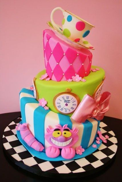 Alice In Wonderland multi tiered cake