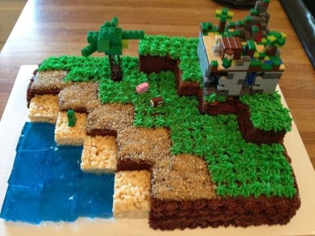 Minecraft scene birthday cake