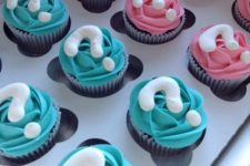 23 gender reveal cupcakes with question marks