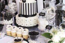 24 elegant black and white party dessert station