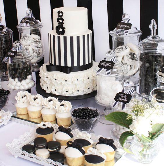 elegant black and white party dessert station
