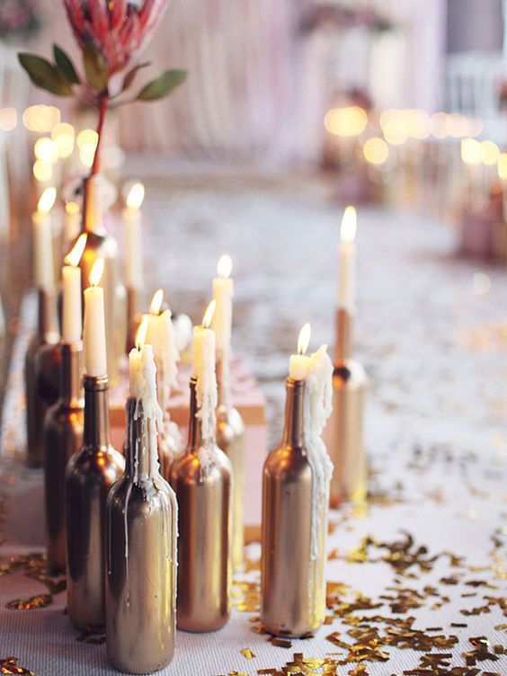 28 wine bottle centerpieces for every occasion shelterness copper wine bottle with candles inserted junglespirit Image collections