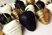 25 glamorous chocolate dipped strawberries gold black and white extravagant